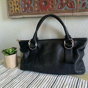 Express black leather handbag shoulder bag